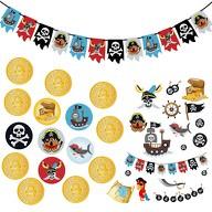 Piraten Party Kindergeburtstag Deko Set - Girlande + Temporäre Tattoos + Konfetti