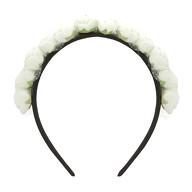 Rosen Haarreifen Blumen Braut JGA Hochzeit Fasching Karneval Damen Kopfschmuck - weiß