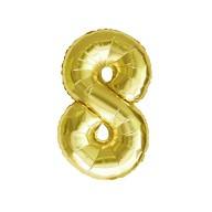 1x Folien Luftballon mit Zahl 8 Geburtstag Jubiläum Party Deko Ballon - gold