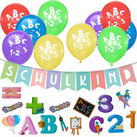Schuleinführung Schulanfang Einschulung Deko Set - Schulkind Girlande + Luftballons + Konfetti Set