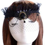 Gothic Collier Augen Maske Haarband Haarschmuck Fascinator Netz Spitze - schwarz