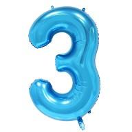 1x Folien Luftballon mit Zahl 3 Kinder Geburtstag Jubiläum Party Deko Ballon blau