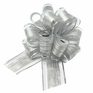 Geschenkschleife Deko Schleife für Geschenke Tüten Zuckertüte Weihnachten Geschenkdeko - silber