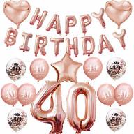 40. Geburtstag Party Deko Set - Happy Birthday + Zahl 40 Ballons + Konfetti Luftballons roségold