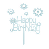 Torten Topper Kuchen Muffin Cupcake Aufsatz Happy Birthday Kinder Geburtstag Jubliäum Deko - blau