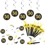 50. Geburtstag Party Feier Deko Set - Tröten + Deckenhänger Wirbel Spiral Girlanden + Konfetti