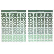 216 Buchstaben Zahlen Aufkleber Zeichen Symbole Sticker + Herzen Blumen für Einschulung uvm. - grün