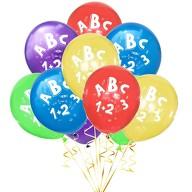 10x Luftballons Schuleinführung Einschulung Schulanfang Deko ABC und 1+2=3 Motive - Farbmix