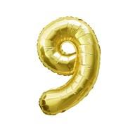 1x Folien Luftballon mit Zahl 9 Geburtstag Jubiläum Party Deko Ballon - gold