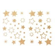 44 Glitzernde Funkelnde Sterne Sticker Aufkleber als Geschenkdeko für Weihnachten uvm. - champagner