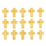15 Kreuz Sticker Aufkleber Taufe Kommunion Konfirmation Deko - gold