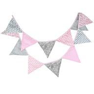 Wimpel Girlande Wimpelkette Banner Vintage - rosa grau