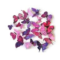 3D Schmetterlinge 12er Set Wandtattoo Wandsticker Wanddeko -pink-lila