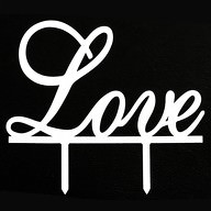 Hochzeitstorten Topper Love Kuchendeckel Hochzeit - weiß