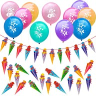 Schuleinführung Schulanfang Einschulung Deko Set - Luftballons + Zuckertüte Girlande + Konfetti