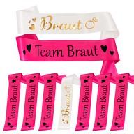 Schärpe Braut + Team Braut Schärpen Set JGA Junggesellinnenabschied Accessoires pink weiß