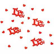 Herz & I love you Konfetti Herzen Hochzeit Valentinstag Deko - rot