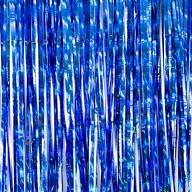 Lametta Vorhang für Weihnachten Silvester Geburtstag Deko Party Fasching Karneval - irisierend dunkelblau