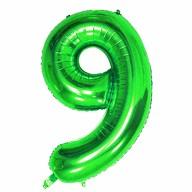 1x Folien Luftballon mit Zahl 9 Kinder Geburtstag Jubiläum Silvester Party Deko Ballon grün