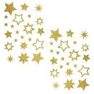 44 Glitzernde Funkelnde Sterne Sticker Aufkleber Weihnachtssterne Weihnachtsdeko - gold