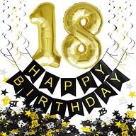 18. Geburtstag Party Deko Set - Girlande + Zahl 18 Ballons + Spiral Deckenhänger + Konfetti