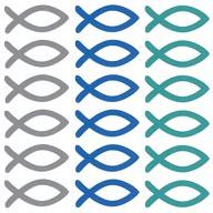 18 Holz Fische Streudeko Taufe Kommunion Konfirmation blau türkis grau - Echtholz