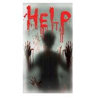 Halloween Sticker HELP mit Geist Silhouette realistischer Aufkleber