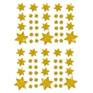 68 Sterne Sticker Aufkleber Glitzernd Funkelnd Weihnachtsdeko - gold