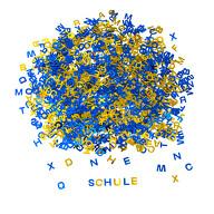 ABC Alphabet Buchstaben Konfetti Streudeko Tisch Deko Schuleinführung Einschulung Party blau gold