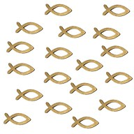 18 Holz Fische Streudeko Taufe Kommunion Konfirmation - Echtholz gold