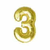 1x Folien Luftballon mit Zahl 3 Geburtstag Jubiläum Party Deko Ballon - gold