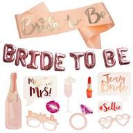 JGA Hochzeit Accessoire Set - Bride to Be Schärpe + Folien Ballons + Fotorequisiten