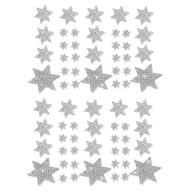 68 Sterne Sticker Aufkleber Glitzernd Funkelnd Weihnachtsdeko - silber