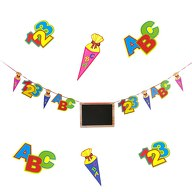 Schuleinführung Girlande Schulanfang Einschulung Zuckertüte ABC Tafel