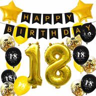 18. Geburtstag Party Deko Set - Happy Birthday Girlande + Zahl 18 Ballons + Konfetti Luftballons