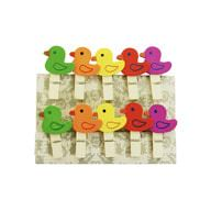 10 Mini Wäscheklammern Holz Miniklammern Deko Klammern - bunte Enten