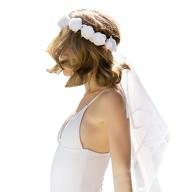 Brautschleier mit Rosenkranz für Hochzeit JGA Junggesellinnenabschied Braut Schleier weiß