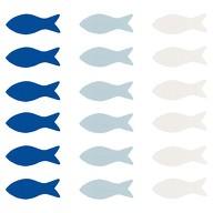 18 Holz Fische Streudeko Taufe Kommunion Konfirmation Firmung - Echtholz blau weiß