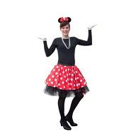 Damen Maus Mouse Kostüm - Rock + Kette + Haarreifen + Handschuhe + Strumpfhose