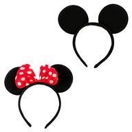 2x Haarreif Haarreifen Maus Mouse Ohren für Fasching Karneval Party - rot schwarz
