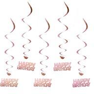 5 Wirbel Deckenhänger Happy Birthday mit Bändern und Ösen - rosé gold
