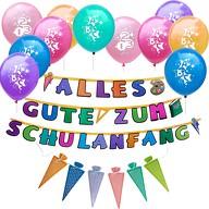 Schuleinführung Schulanfang Einschulung Deko Set - Luftballons + Girlande + Einladungskarten