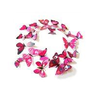 3D Schmetterlinge 12er Set Wandtattoo Wandsticker Wanddeko - pink