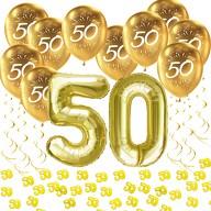 50. Geburtstag Goldene Hochzeit Deko Set - Luftballons Zahl 50 + Konfetti + Spiral Girlanden