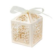 10 Deko Schachteln Boxen mit Kreuz Motiv für Taufe Kommunion Konfirmation Hochzeit creme