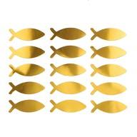 15 Fisch Sticker Aufkleber Taufe Kommunion Konfirmation Deko - gold