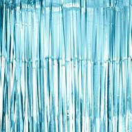 Lametta Vorhang für Weihnachten Silvester Geburtstag Deko Party Fasching Karneval - matt hellblau