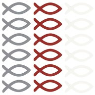 18 Holz Fische Streudeko Taufe Kommunion Konfirmation weinrot grau weiß - Echtholz