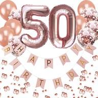 50. Geburtstag Party Deko Set - Girlande + Zahl 50 Ballons + Konfetti Luftballon Set + Konfetti