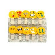 10 Mini Wäscheklammern Holz Miniklammern Deko Klammern - Smileys